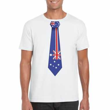 Wit t-shirt met australie vlag stropdas heren