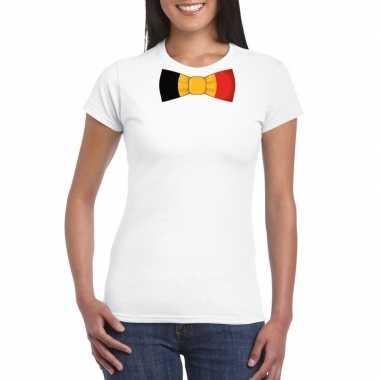 Wit t-shirt met belgie vlag strikje dames