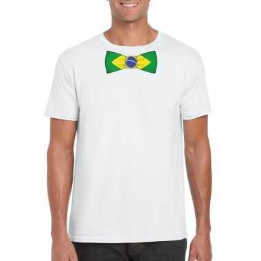 Wit t-shirt met brazilie vlag strikje heren