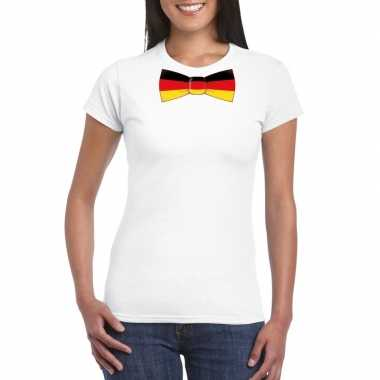 Wit t-shirt met duitsland vlag strikje dames