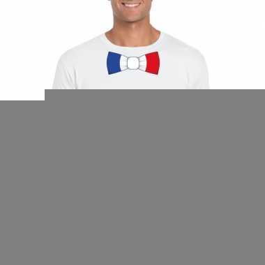 Wit t-shirt met frankrijk vlag strikje heren