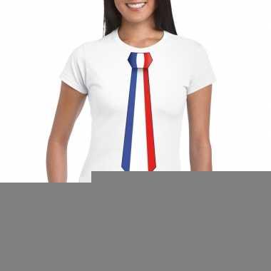 Wit t-shirt met frankrijk vlag stropdas dames trend