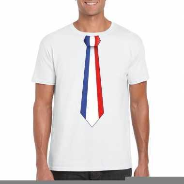 Wit t-shirt met frankrijk vlag stropdas heren trend