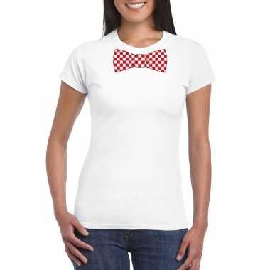 Wit t-shirt met geblokte brabant strik voor dames