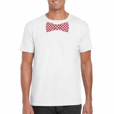Wit t-shirt met geblokte brabant strik voor heren