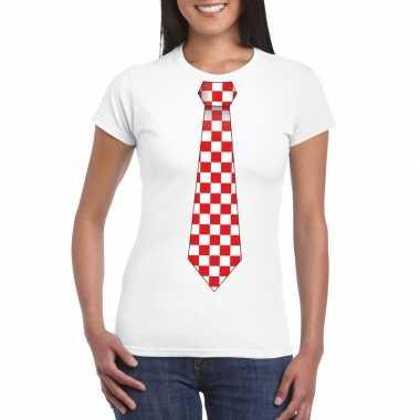 Wit t-shirt met geblokte brabant stropdas voor dames