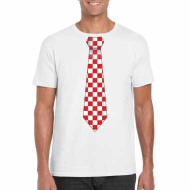 Wit t-shirt met geblokte brabant stropdas voor heren