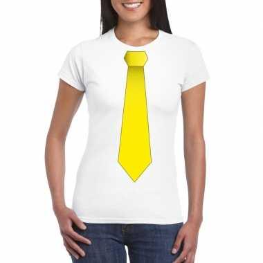 Wit t-shirt met gele stropdas dames