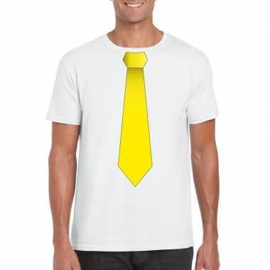 Wit t-shirt met gele stropdas heren