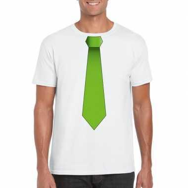 Wit t-shirt met groene stropdas heren