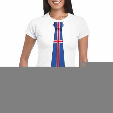 Wit t-shirt met ijsland vlag stropdas dames
