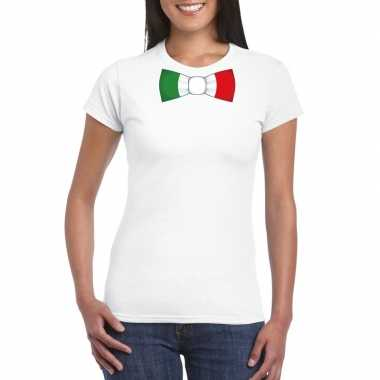 Wit t-shirt met italie vlag strikje dames