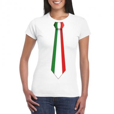 Wit t-shirt met italie vlag stropdas dames
