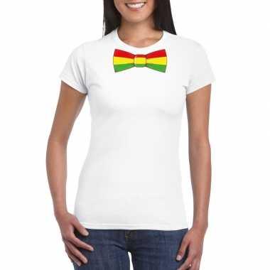 Wit t-shirt met limburgse vlag strik voor dames