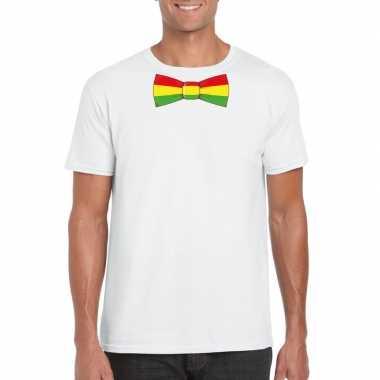 Wit t-shirt met limburgse vlag strik voor heren