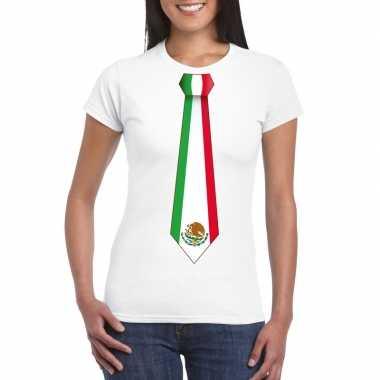 Wit t-shirt met mexico vlag stropdas dames