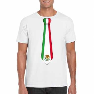 Wit t-shirt met mexico vlag stropdas heren