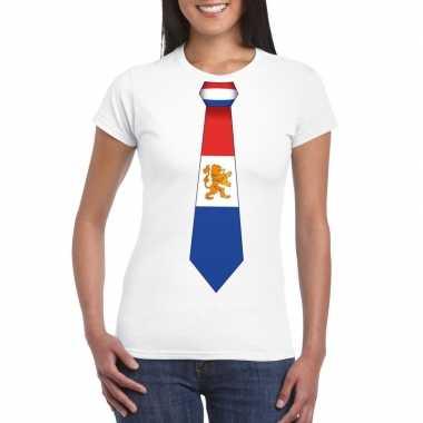 Wit t-shirt met nederland vlag stropdas dames