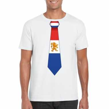 Wit t-shirt met nederland vlag stropdas heren