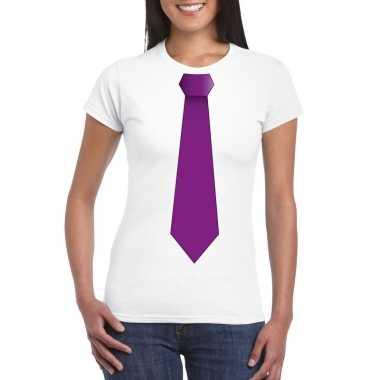 Wit t-shirt met paarse stropdas dames