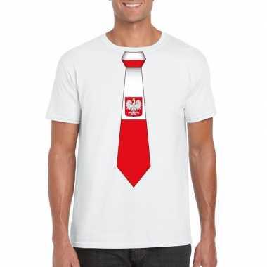 Wit t-shirt met polen vlag stropdas heren
