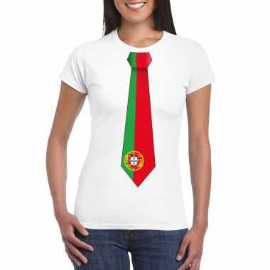 Wit t-shirt met portugal vlag stropdas dames