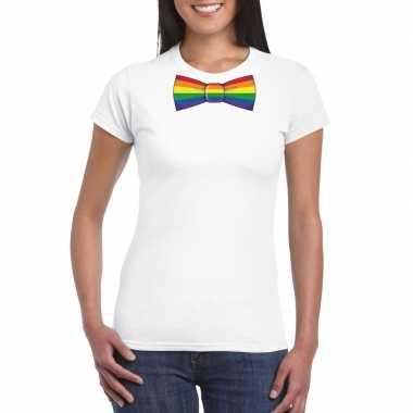 Wit t-shirt met regenboog vlag strikje dames
