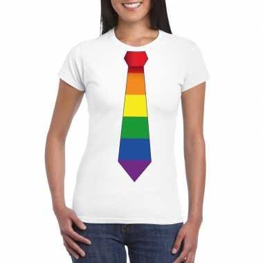 Wit t-shirt met regenboog vlag stropdas dames