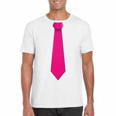 Wit t-shirt met roze stropdas heren