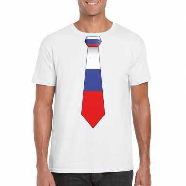 Wit t-shirt met rusland vlag stropdas heren