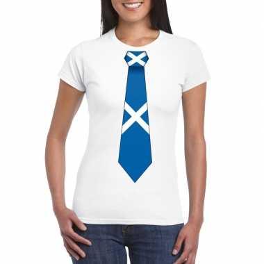 Wit t-shirt met schotland vlag stropdas dames