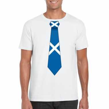 Wit t-shirt met schotland vlag stropdas heren