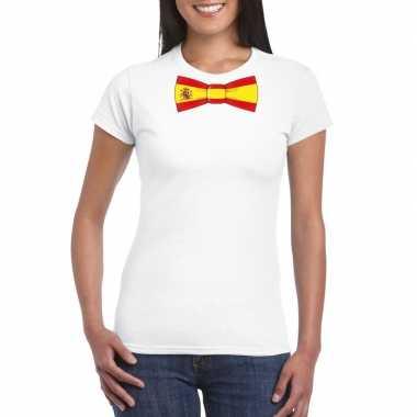 Wit t-shirt met spanje vlag strikje dames