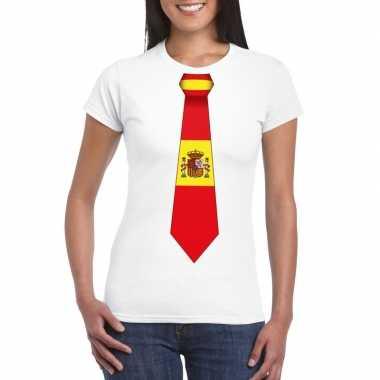Wit t-shirt met spanje vlag stropdas dames