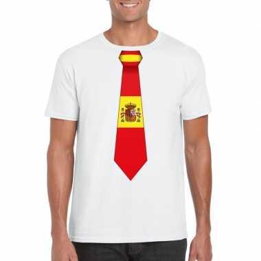Wit t-shirt met spanje vlag stropdas heren