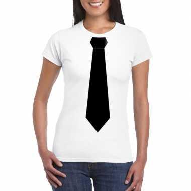 Wit t-shirt met zwarte stropdas dames