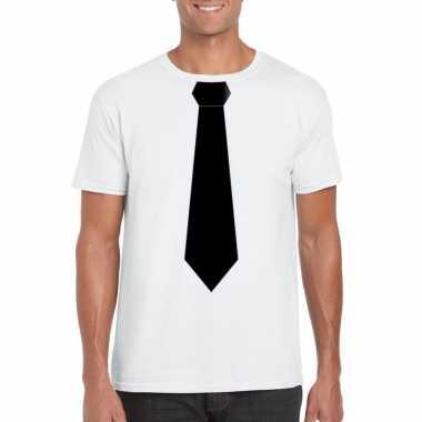 Wit t-shirt met zwarte stropdas heren