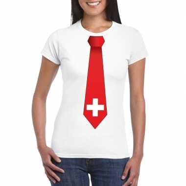 Wit t-shirt met zwitserland vlag stropdas dames