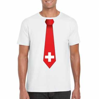 Wit t-shirt met zwitserland vlag stropdas heren