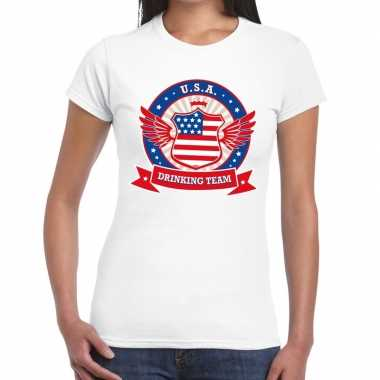 Wit usa drinking team t-shirt dames