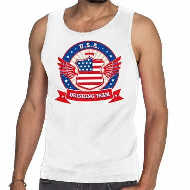 Wit usa drinking team tanktop / mouwloos shirt heren