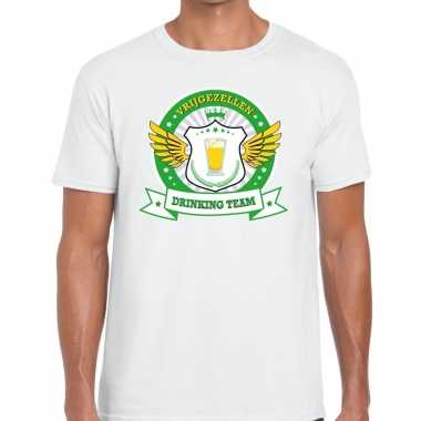 Wit vrijgezellenfeest drinking team t-shirt groen geel heren