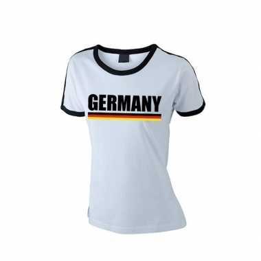 Wit/ zwart duitsland supporter ringer t-shirt voor dames