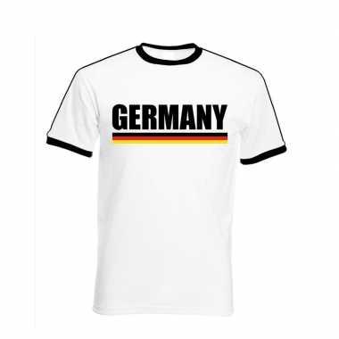 Wit/ zwart duitsland supporter ringer t-shirt voor heren