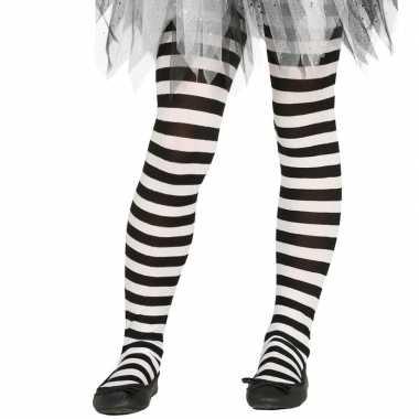 Wit/zwart gestreepte kinder maillot 5-9 jaar