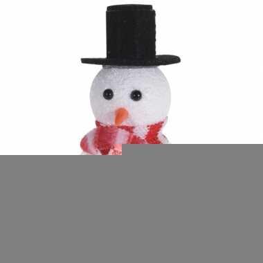 Wit/zwarte sneeuwpop kerstversiering hangdecoratie 12 cm