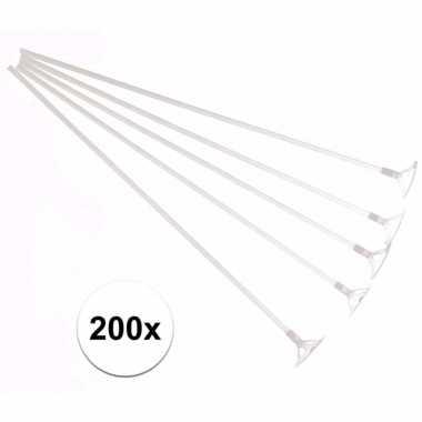 Witte ballonstokjes 200 stuks