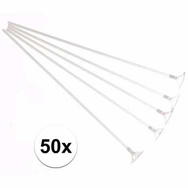 Witte ballonstokjes 50 stuks