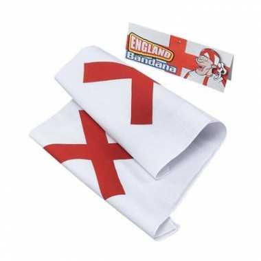 Witte bandana met rood kruis