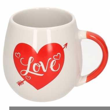 Witte beker met rood hart love